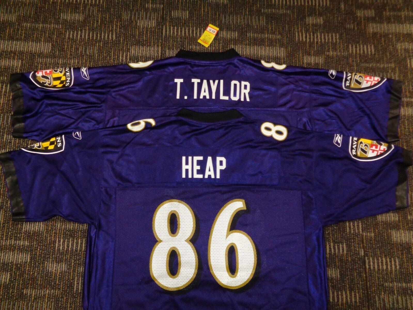LOT-TODD HEAP TRAVIS TAYLOR BALTIMORE RAVENS REEBOK NFL GAME FOOTBALL JERSEYS  - $39.99