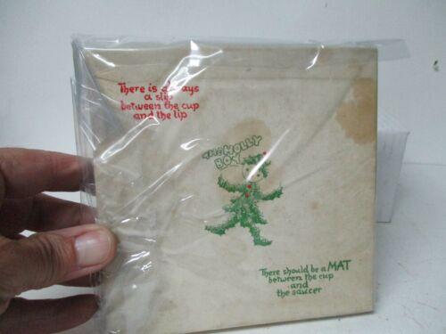 Vintage England Christmas HOLLY BOY Paper Drink Coasters in Original Box