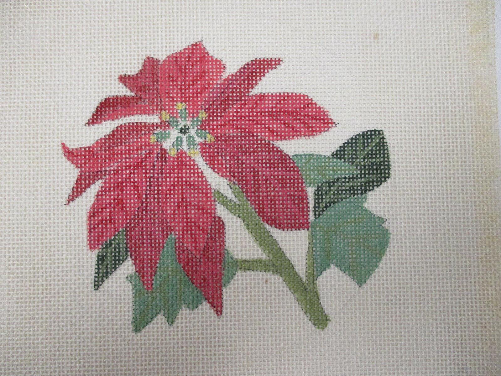 L Caron Handpainted Needlepoint Canvas Poinsettia Single Flower 18 Mesh - $18.00
