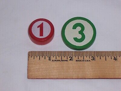 Vintage Fisher Price Original Cash Register 2 Wood Replacement Coins 1 & 3 NICE!