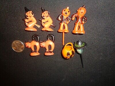 ROSBRO? VINTAGE HARD PLASTIC HALLOWEEN DECORATIONS WITCHES CATS CAKE TOPPERS