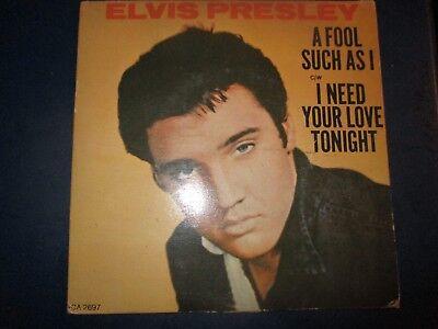 Older ELVIS PRESLEY A Fool Such As I Heavy Card Sleeve 7