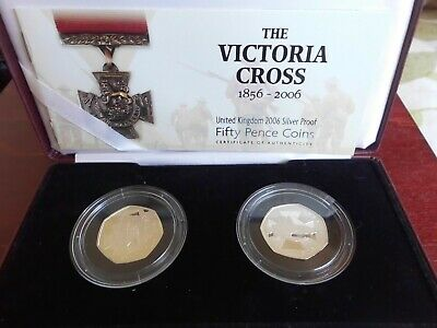 ROYAL MINT 2006 SILVER PROOF  THE VICTORIA CROSS SET 2 x 50p COINs