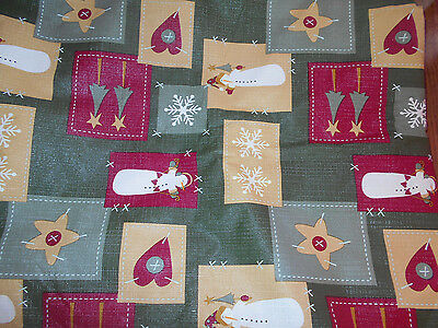 Christmas Vinyl Tablecloth, Snowmen, Snowflakes, 82 x 61 inch Rectangle, Kohls ()