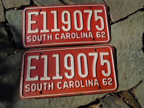 1962 South Carolina  pair License Plates # E 119075, SC
