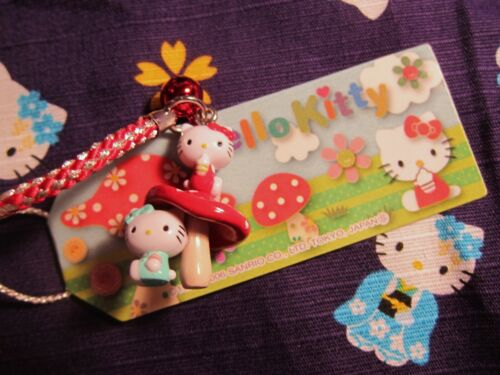Hello Kitty Mushroom Gotouchi Cell Phone Bag Charm New from Japan
