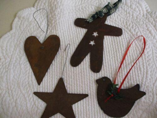 Set 4 Vintage Rusty Metal Christmas Ornaments Gingerbread Man, Star, Heart, Bird