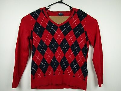 Tommy Hilfiger V-Neck Argyle XL Extra Large Slim Fit Mens Red Sweater