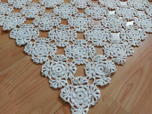 "ANTIQUE Vintage Art Deco Handmade Crochet Lace Tablecloth Runner Square 29"""