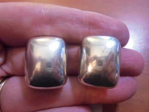 Vtg Sterling silver square puffy clip on nonpierced earrings 15.4 grams Mexico