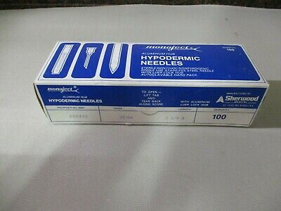 Box Of 100 Monoject Hypodermic Needles With Aluminum Hub 25 Gauge X 1-14