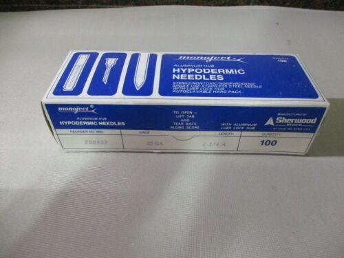 "BOX OF 100 Monoject Hypodermic Needles with Aluminum Hub, 25 Gauge x 1-1/4"""