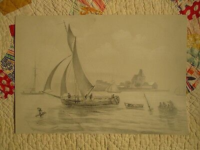 NICE Antique unframed Pencil Graphite Drawing of Ship and Boats dated 1868