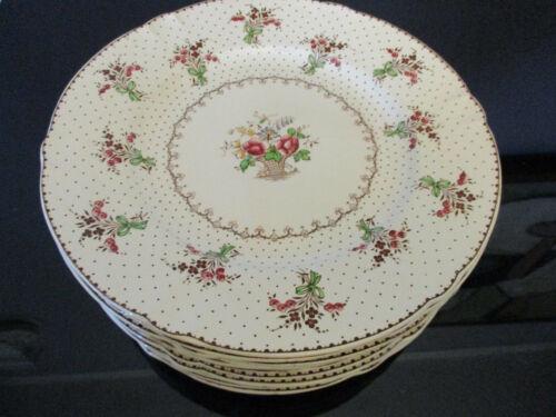 12 Antique Vintage Minton China Flower Basket Floral Bouquet Spray Dinner Plates