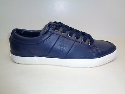 Polo Ralph Lauren Size 10.5 M IAN Navy Leather Fashion Sneakers New Mens Shoes