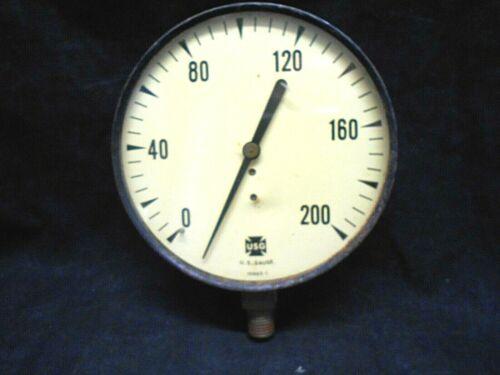 USG USA Made Air Pressure Gauge 0-200 PSI Registration Industrial Equipment Tool