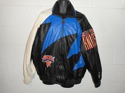 Vintage 90s Logo Athletic New York Knicks Sharktooth Leather Jacket Coat XL