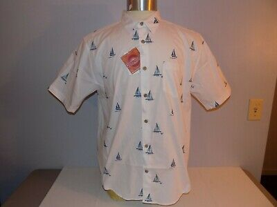 The Havanera Co Mens Button Front Short Sleeve Shirt Size L Cotton Sailboats NWT