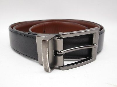 Mens Arrow Black Brown Reversible Leather Belt Size 36 With Gray Buckle ()
