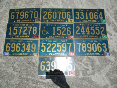 10 Delaware license plate lot for collecting or decorating man cave # 2