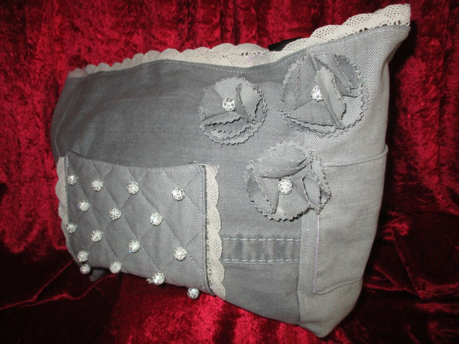 Jeanstasche Handarbeit Blüten Spitze Glitzerkugeln Handtasche