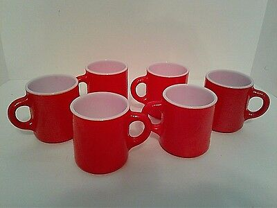 6 Vintage Milk Glass Red Coffee Mugs Orange Peel Textured Bumpy