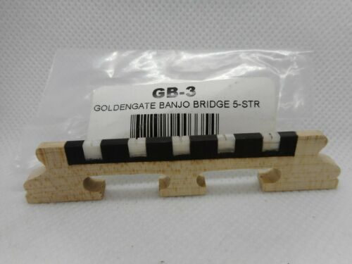 "Golden Gate GB-3 Deluxe 5-String Banjo Bridge With Bone Inserts, 5/8"" High"
