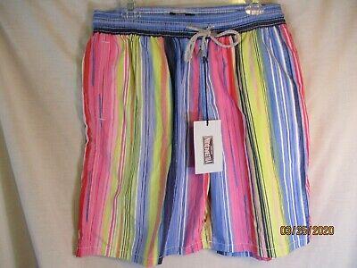 New 2 Extra Large Multi-Colored Striped VILEBREQUIN Swim Trunks/Beachgear-NWT