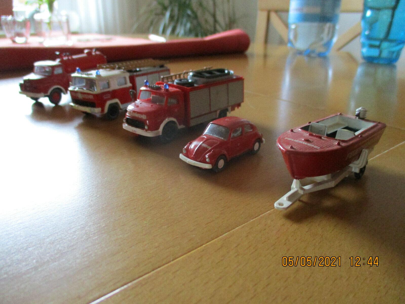 Wiking Feuerwehrfahrzeuge 5 Stk. veredelt ( Konvolut )