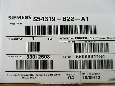 New Siemens Fdbz492 - 2 Wire Duct Housing Without Relay