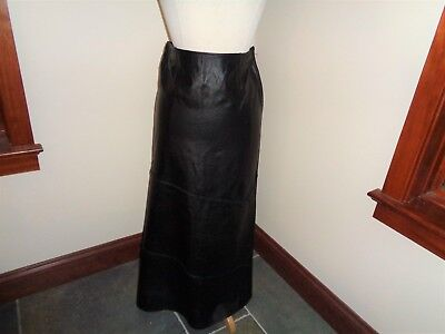 """Reflections Black Soft Leather Skirt LONG A Line Size 4,  30""""x37"""""""