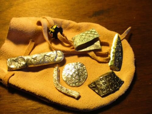 6 pieces Viking style Hack Silver in leather pouch 925 sterling 999 Ag bullion