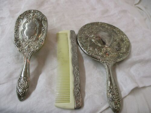 Vintage 3 pc Silver plated Hand Mirror Hair Brush Comb
