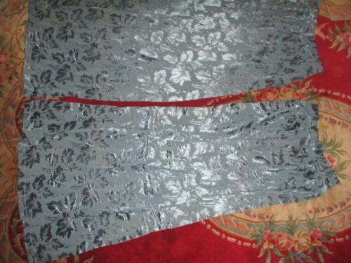 (1) Pair of Antique French Blue drapes Leaf Pattern not Lined