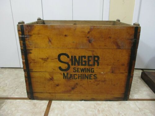 HUGE Antique Vtg Wooden Singer Sewing Machine Industrial Shipping Crate Table