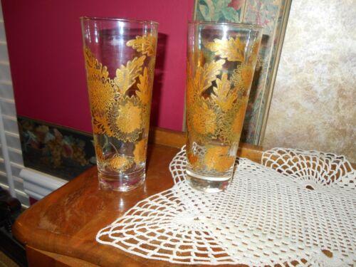 VINTAGE CULVER ART GLASS GOLD EMBOSSED LEAVES FLOWERS HIGHBALL TUMBLERS GLASSES