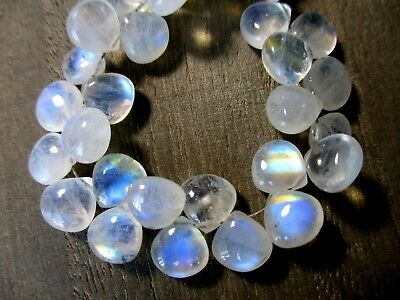 Rainbow Moonstone smooth heart briolette- 8x8mm- 2 Pairs- very good flash