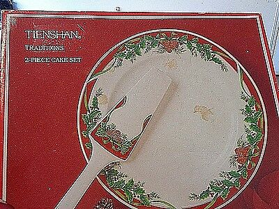 2 piece cake server Holiday design on Bone China new with box