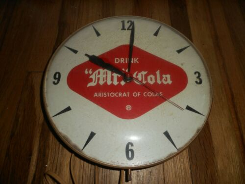 Vintage MR COLA Advertising Soda Pop Round Wall Hanging Clock - WORKS