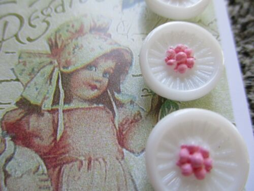"""Set of 6 Vintage 1/2"""" White Pink  Flower Glass Buttons~Pre WWII ~1920"""