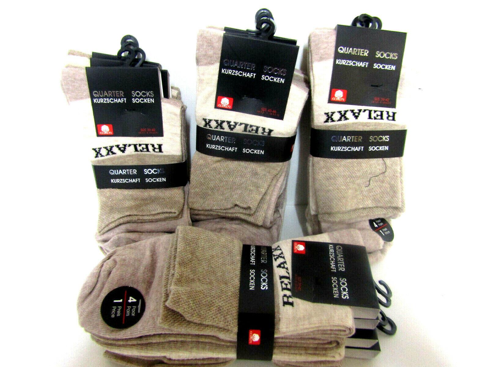 4 Paar Herren Quarter Kurzschaft Socken Beige-Braun Top Qualität