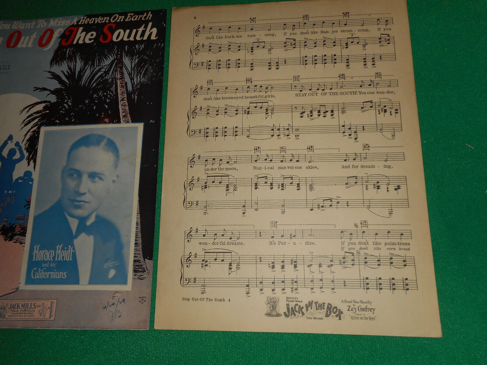 Black Americana Stay Out Of The South Horace Heidt Harold Dixson 1927 Sheet Mus. - $4.99