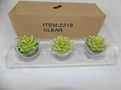 "Thin Clear Blown Art Glass 3 Floral tealight 9"" Candle Holder Two's Company"