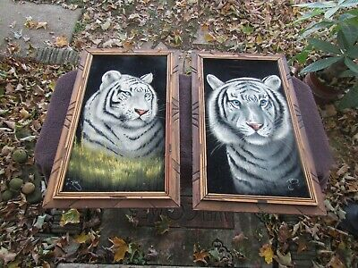 Vintage Black Velvet Painting Pair White Tigers Signed 1960s Retro Mod Mexico NR