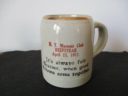 1911 Souvenir New Brighton Pottery Motto Mug Masonic Club Beefsteak New York