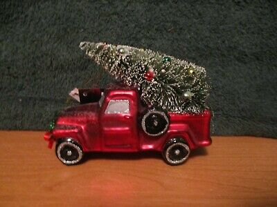 Collectable Robert Stanley Blown Glass Red Pickup Truck with Tree Ornament