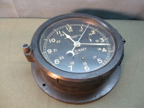 "vintage US NAVY, CHELSEA Military Clock, 6"" dial"