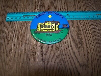 "Midnight Sun Festival Nome, Alaska 1978. Large pinback button, 3.5"". Fine."