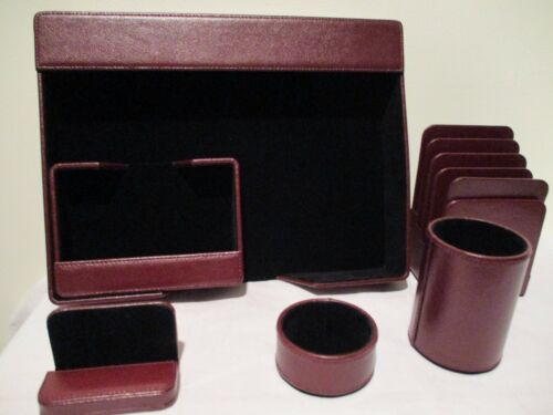 6-Piece Desk Set in rich burgundy leather - Deflect-0 brand