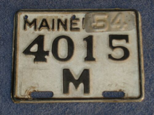 1954 maine MOTORCYCLE   license plate low number  # 4015